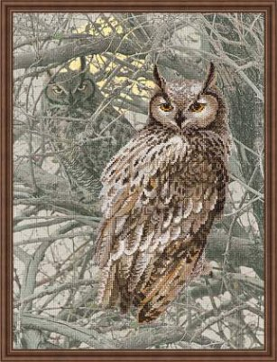 click here to view larger image of Eagle Owl (embellished cross stitch kit)