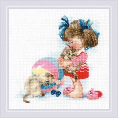 click here to view larger image of Kathys Kittens (counted cross stitch kit)