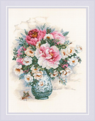 click here to view larger image of Peonies and Wild Roses (counted cross stitch kit)